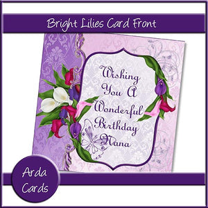 Bright Lilies Card Front - The Printable Craft Shop