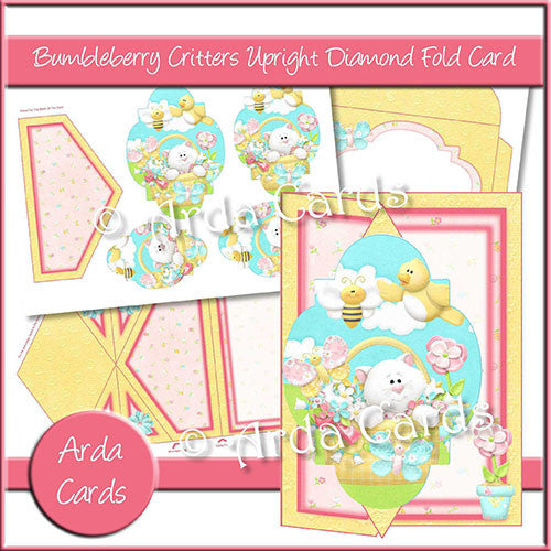 Bumbleberry Critters Upright Diamond Fold Card - The Printable Craft Shop