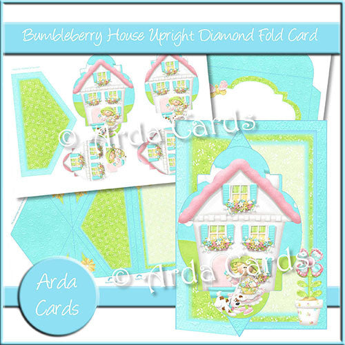 Bumbleberry House Upright Diamond Fold Card - The Printable Craft Shop