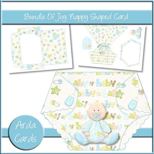 Bundle Of Joy Nappy Shaped Card - The Printable Craft Shop