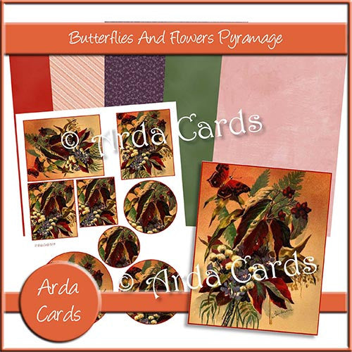 Butterflies And Flowers Pyramage - The Printable Craft Shop