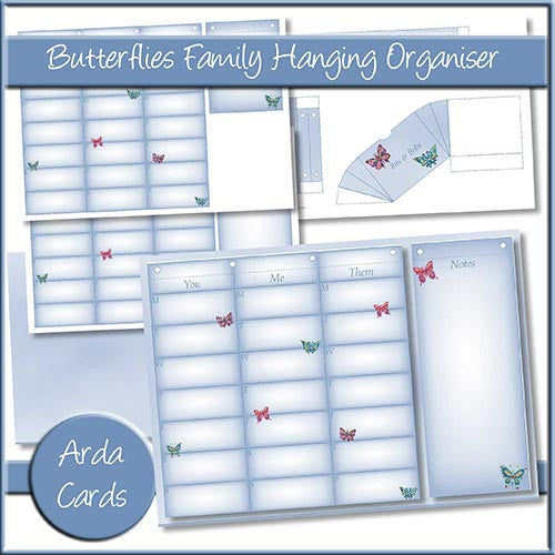 Butterflies Family Hanging Organiser - The Printable Craft Shop
