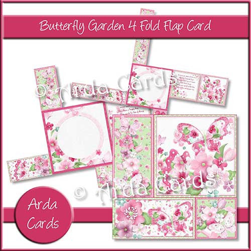 Butterfly Garden Printable 4 Flap Fold Card - The Printable Craft Shop