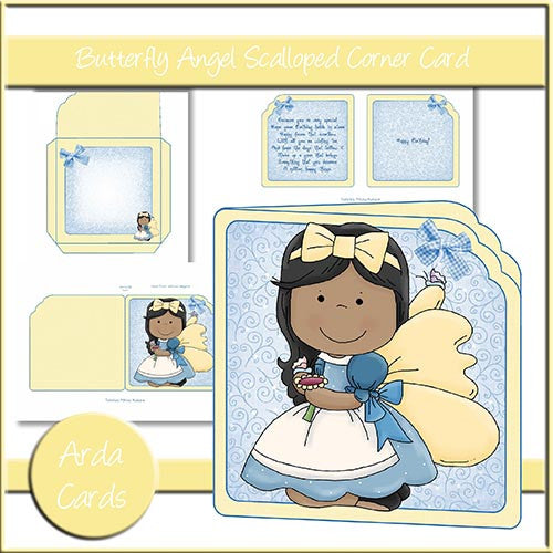 Butterfly Angel Scalloped Corner Card - The Printable Craft Shop