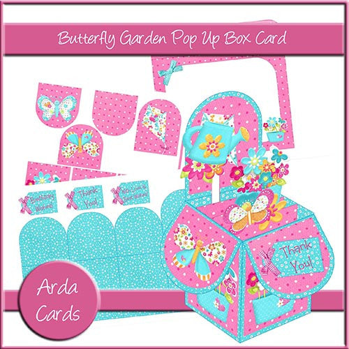 Butterfly Garden Pop Up Box Card - The Printable Craft Shop