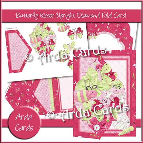 Butterfly Kisses Upright Diamond Fold Card - The Printable Craft Shop