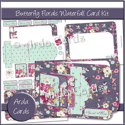 Butterfly Florals Waterfall Card Kit - The Printable Craft Shop