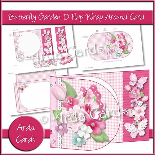 Printable Butterfly Garden D Flap Wrap Around Card - Charity Card: 20p to ActionAid - The Printable Craft Shop