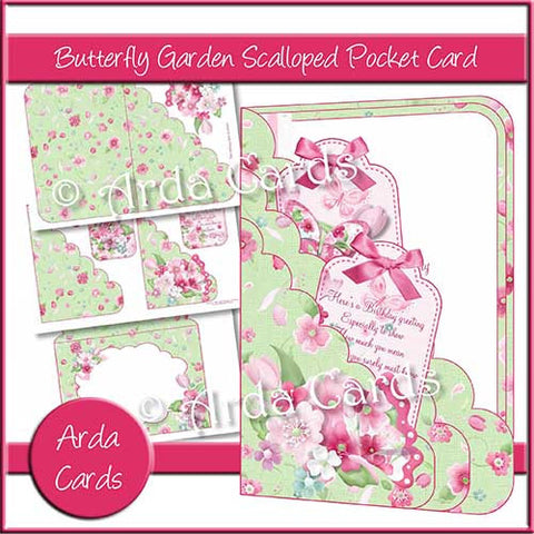 Butterfly Garden Printable Scalloped Pocket Card