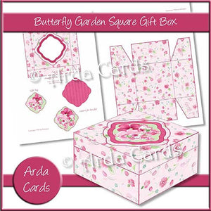 picture about Printable Gift Box identify Butterfly Yard Sq. Printable Reward Box