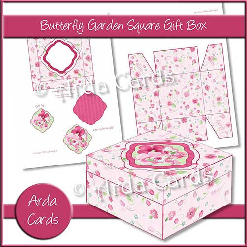 Butterfly Garden Square Printable Gift Box - The Printable Craft Shop