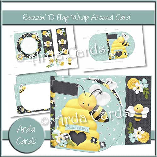 Buzzin' D Flap Printable Wrap Around Card - The Printable Craft Shop - 1