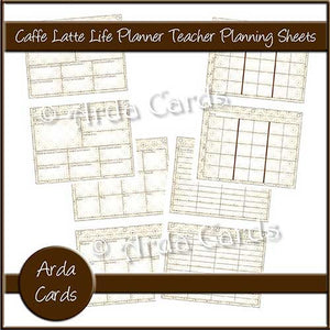 photo relating to Printable Teacher Planner identified as Caffe Latte Everyday living Planner Printable Trainer Creating Sheets