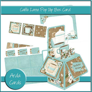 Caffe Latte Pop Up Box Card - The Printable Craft Shop