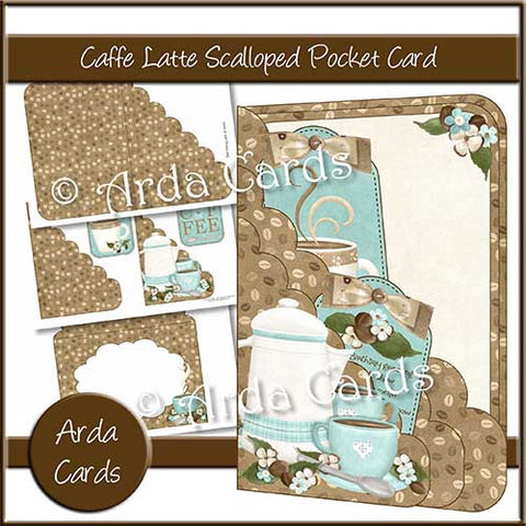Caffe Latte Printable Scalloped Pocket Card