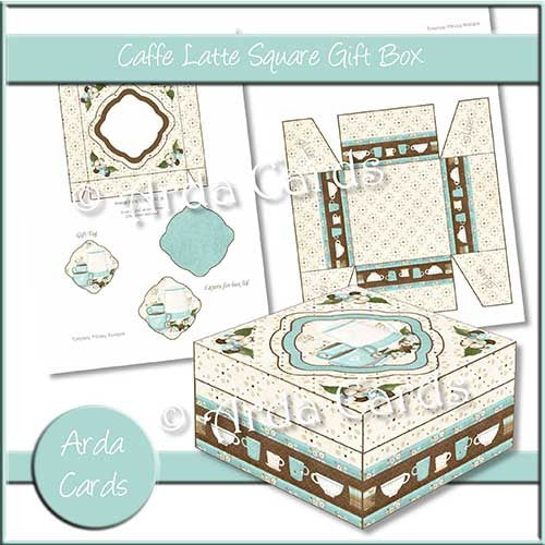 Caffe Latte Square Printable Gift Box - The Printable Craft Shop
