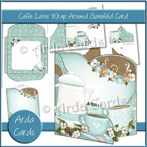 Caffe Latte Wrap Around Gatefold Card - The Printable Craft Shop