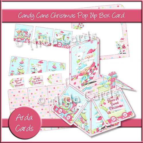 Candy Cane Christmas Pop Up Box Card Printable