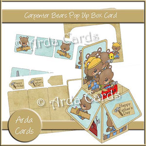 Carpenter Bears Printable Pop Up Box Card Kit - The Printable Craft Shop