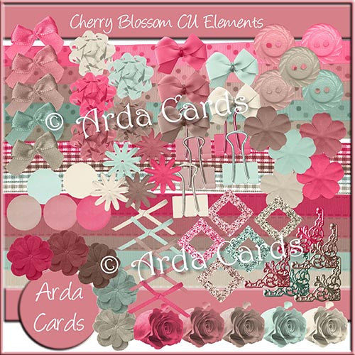 Cherry Blossom CU Elements - The Printable Craft Shop