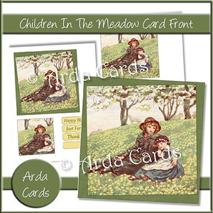 Children In The Meadow Card Front - The Printable Craft Shop