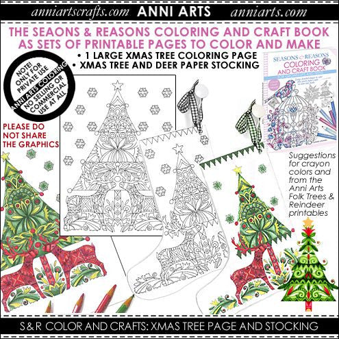 Colour & Make:  Christmas Tree with Reindeer Page and Stocking - The Printable Craft Shop