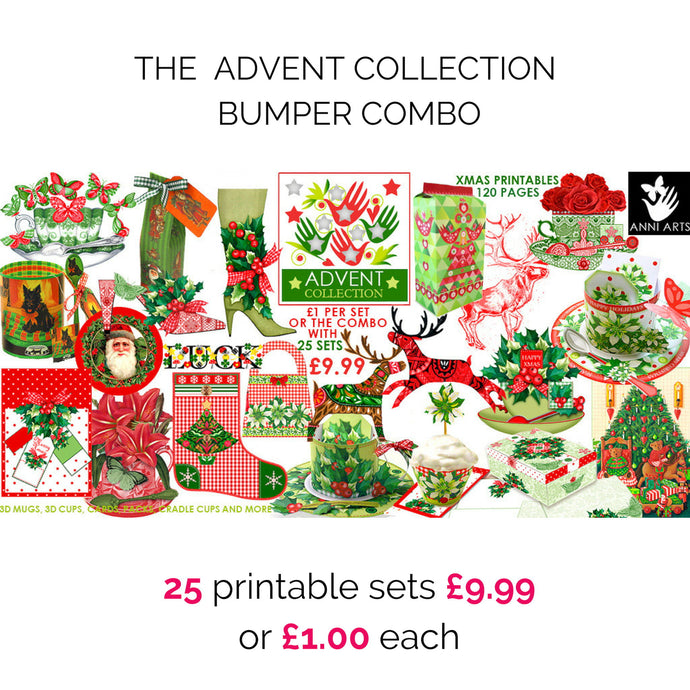 christmas printables bundle of cards, gift packages, wrappers
