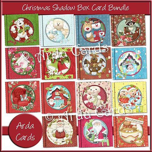 Christmas Shadow Box Printable Card Bundle - The Printable Craft Shop