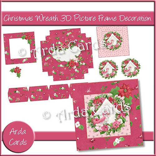 Christmas Wreath 3D Picture Frame Printable Decoration - The Printable Craft Shop