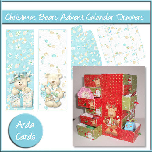 Christmas Bears Advent Calendar Drawers - The Printable Craft Shop