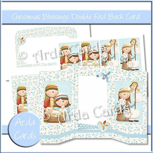 Christmas Blessings Double Foldback Card - The Printable Craft Shop