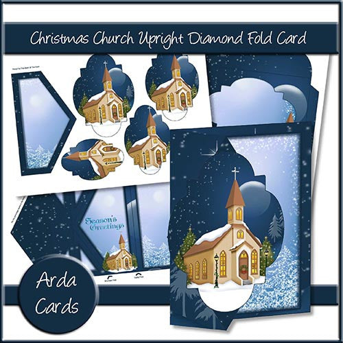 Christmas Church Upright Diamond Fold Card - The Printable Craft Shop