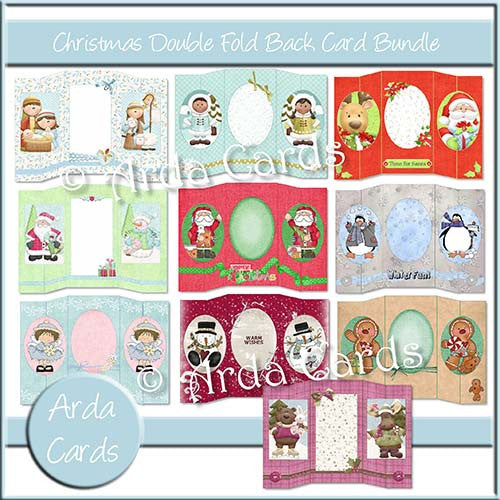 Christmas Double Foldback Card Bundle - The Printable Craft Shop