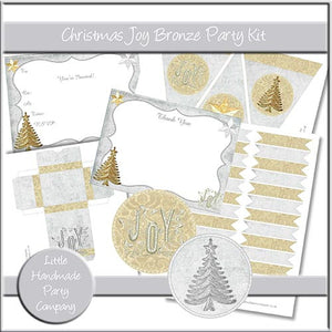 Christmas Joy Bronze Party Set - The Printable Craft Shop