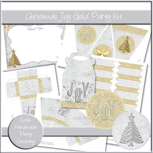 Christmas Joy Gold Party Set - The Printable Craft Shop
