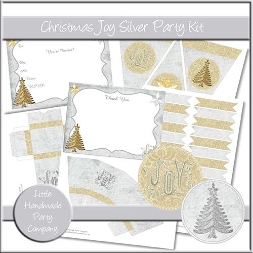 Christmas Joy Silver Party Set - The Printable Craft Shop