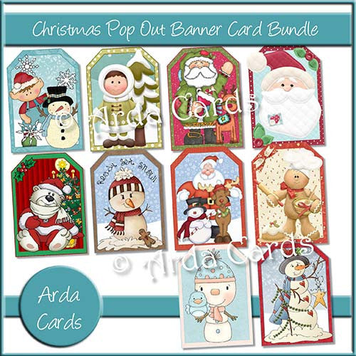 Christmas Pop Out Banner Card Bundle - The Printable Craft Shop - 1