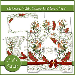Christmas Robin Double Fold Back Card - The Printable Craft Shop