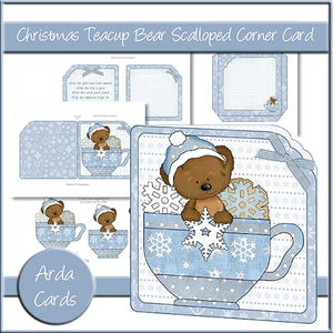 Christmas Teacup Bear Scalloped Corner Card - The Printable Craft Shop