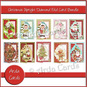 Christmas Upright Diamond Fold Card Bundle - The Printable Craft Shop