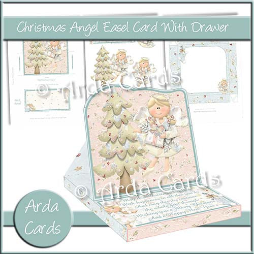 Christmas Angel Easel Card With Drawer - The Printable Craft Shop