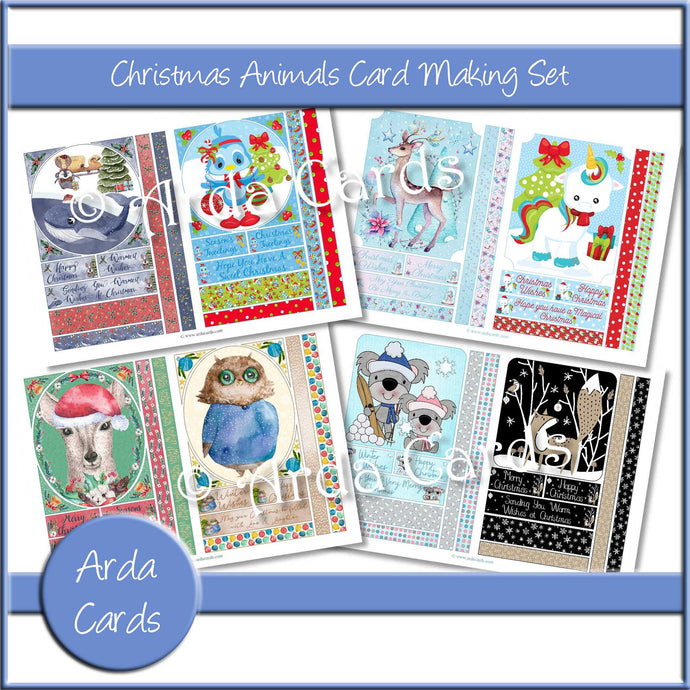 Christmas Animals Card Making Set Printable