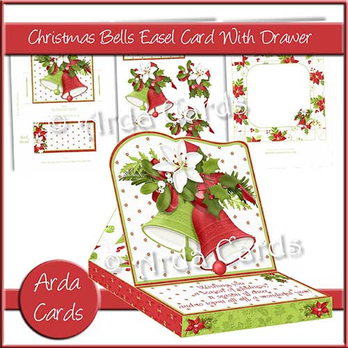 Christmas Bells Easel Card With Drawer - The Printable Craft Shop