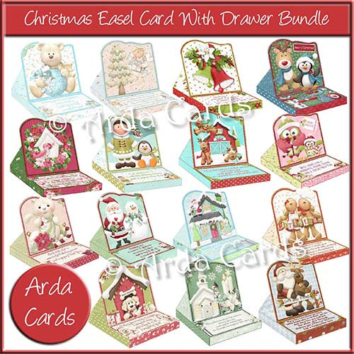 Christmas Easel Card With Drawer Printable Bundle