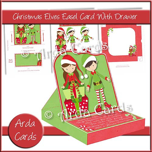Christmas Elves Easel Card With Drawer Printable