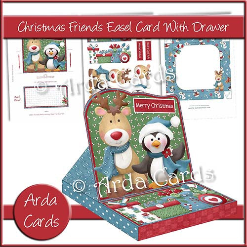 Christmas Friends Easel Card With Drawer - The Printable Craft Shop