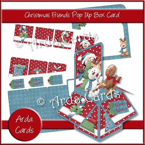 Christmas Friends Pop Up Box Card Printable