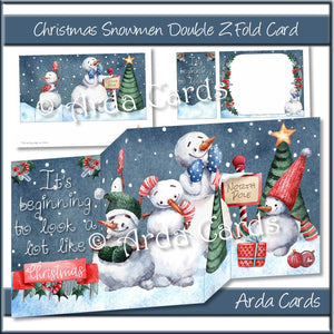 Christmas Snowmen Double Z Fold Card