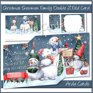 Christmas Snowmen Family Double Z Fold Card