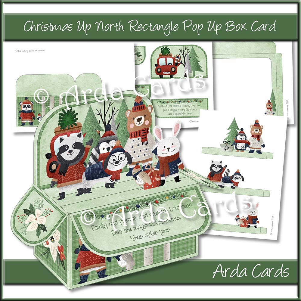 Christmas Up North Rectangle Pop Up Box Card Printable